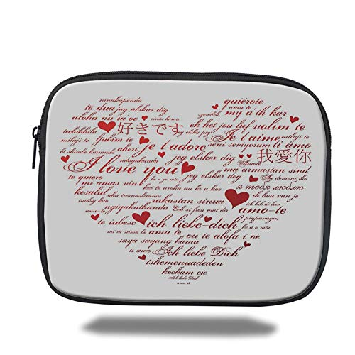 Flirt Mini (Laptop Sleeve Case,I Love You,Love Words in Various Language Universal Wedding Engaged Flirt Partners Print Decorative,Red White,Tablet Bag for Ipad air 2/3/4/mini 9.7 inch)