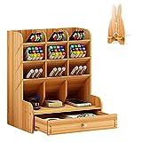 Estantería de escritorio de madera portabolígrafos multifuncional organizador de papelería con regalo soporte del móvil, color Originale