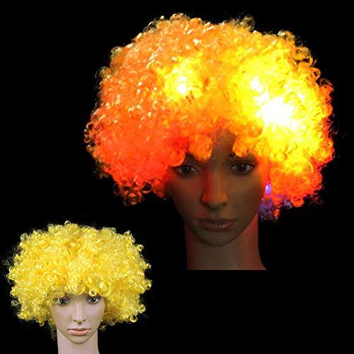 Hereubuy LED-Perücke, blinkend, gelockt, leuchtende Regenbogen-Clown-Perücke, Mehrfarbig, LED-Lichter in Spielzeug, Spielen und ()