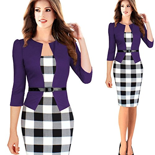 Minetom Femmes Vintage Grille Tunique Moulante Bureau des Affaires Robes Pour le Travail Pencil Bodycon Party Cocktail Violet 2