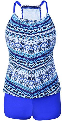 EmilyLe Women's Sporty Two Pieces Swimsuit Tankini Sets Tribal Printed Top Swimwear With Boyshort
