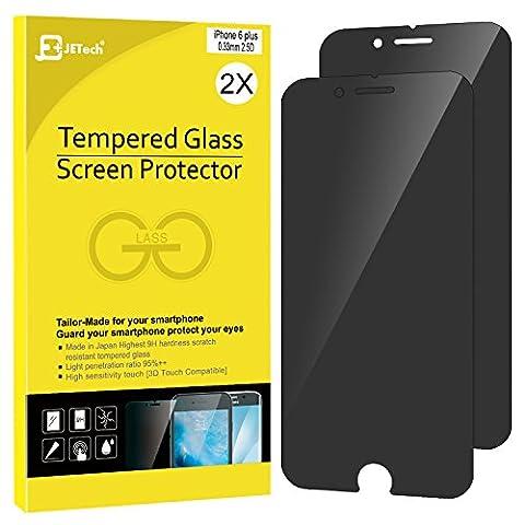 iPhone 6s Plus Confidentiel Film Protection Ecran, JETech 2-Pack Prime Anti-Espion Protection Ecran en verre trempé pour Apple iPhone 6 Plus et iPhone 6s Plus (Noir) -