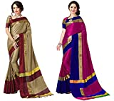 Art Décor Sarees Women's Cotton Silk Saree (Chiku Red & Gold Green_Pack of 2)