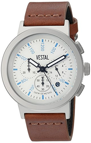 Vestal Men's Retrofocus Chrono' Quartz Stainless Steel and Leather Dress Watch, (Model: SLRCL004) One Size Brown