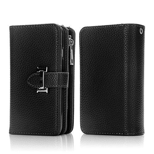 Solid Color Litchi Skin PU Leder Magnetic Closure Pattern Schutzhülle mit Card Slots & Zipper Pouch & Abnehmbare Rückseite für iPhone 7 Plus ( Color : Rose ) Black