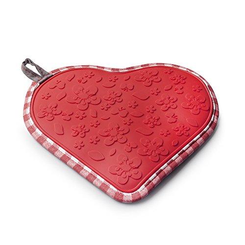 Zeal Silicone Hot Pot de tapis et support en forme de cœur, coton, Rouge, 20.5 x 22.5 x 20.5 cm