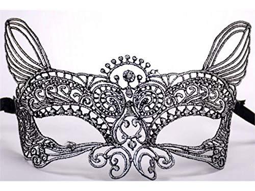 Yyanliii divertente sexy elegante maschera di pizzo catwoman estirpare la maschera del partito di promenade maschera veneziana per il partito (argento)