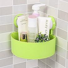 DCAE de plástico Cuarto de baño cocina almacenamiento Triángulo de organizar Estantería de esquina de ducha caddy cesta con ventosa de pared,Verde