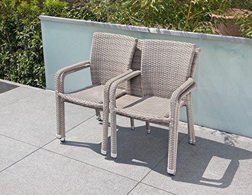 greemotion Bank Manila grau bicolor, platzsparend stapelbare 2er Bank, Gartenbank aus robstem Polyrattan, hochwertiges Aluminiumgestell, Maße: ca. 115 x 58 x 88 cm - 4