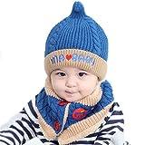 Kfnire unisexe bébé garçon fille enfant en bas âge chapeau écharpe ensemble pour cadeau d'anniversaire de noël (bleu)
