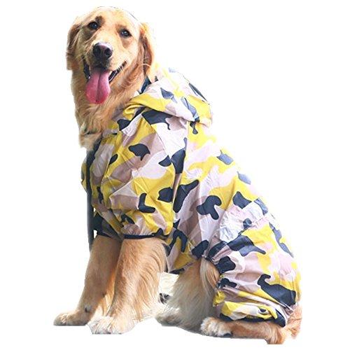 Pet Hund Sun Schutz vierbeinigen Kostüm für große Hunde gelb Camouflage Jacke Anti UV-Hoodie Pets Hunde Sonnenschutz T Shirt Jumpsuit (Kostüme Sun)