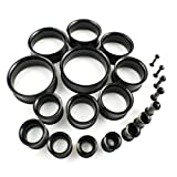Black Surgical Stainless Steel Flesh Tunnels Double Flare Choose Your Size! Ear Plugs 316L Ear Expanders 10MM