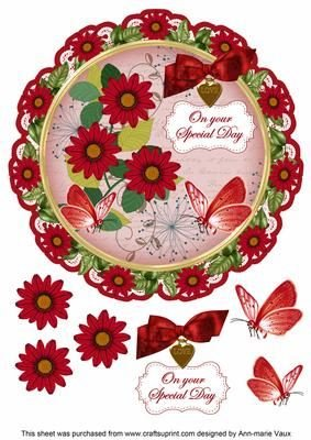 Daisy Red Special Day 8centrino in decoupage topper by ann-marie Vaux