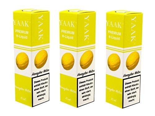 YAAK® Premium E-Liquid / Liquid 3 x 10 ml Honigmelone ohne Nikotin / E-Zigaretten, Elektrische-Zigarette, E-Shisha / Geschmacksaroma Honeydew Melon Ziel Nikotin