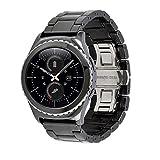 Für Samsung Gear S2 Armband, Geschäft Luxus Keramik Uhrenarmband Gurt Armband Für Samsung Gear S2 Klassisch 20mm/22mm (Schwarz)