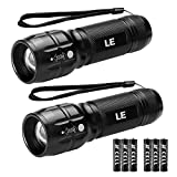 LE LED Torch, Adjustable Focus Tactical Flashlight, Powerful Handheld Torch, Pocket Size, Batteries Included, Pack of 2