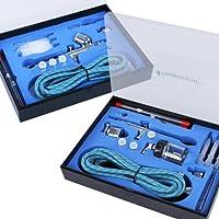 TIMBERTECH ABPST03 Airbrush-Set mit 6 Nadeln, 6 Düsen, 2 Adapter, 2 Schlauch und 2 Koffern