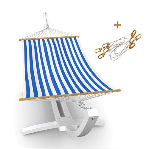Special Edition: Outdoor Hängematte im Set mit Sicherung und Gestell Mauritius 310 cm weiß   Holz sibirische Lärche wetterfest   Stabhängematte blau/weiß   Einpersonenhängematte