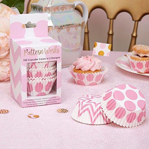 cake Förmchen Punkte rosa & Zickzack-Muster rosa, 100 Stück - Muffinförmchen Hochzeit Cupcake Papierförmchen Baby Shower Muffin Backförmchen Geburtstag rosa ()