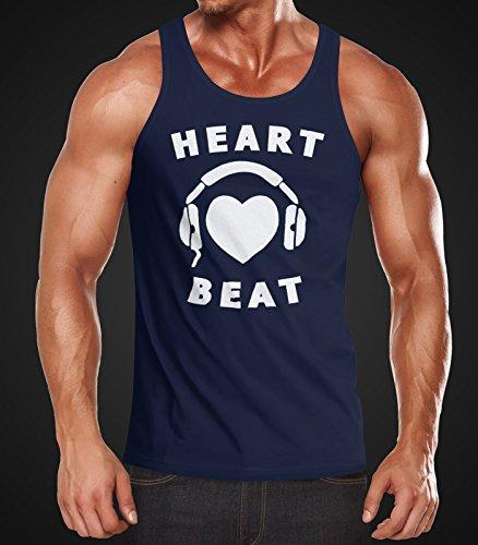 Herren Tanktop Heart Beat Herz Kopfhörer Musik Techno Muscle Shirt Moonworks® Heart Beat navy