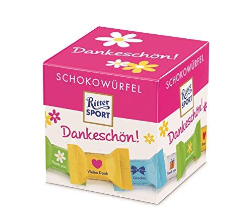 """RITTER SPORT Schokowürfel Dankeschön (4 x 176 g), das Geschenk zum """"Danke"""" sagen, einzeln verpackte Mini-Schokoladenwürfel, verschiedene Sorten"""