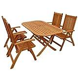 IND-70063-BASE5 Gartenmöbel Set Bangor, Garten Garnitur Sitzgruppe aus Holz - 5-teilig - Tisch + 4 x Stuhl klappbar