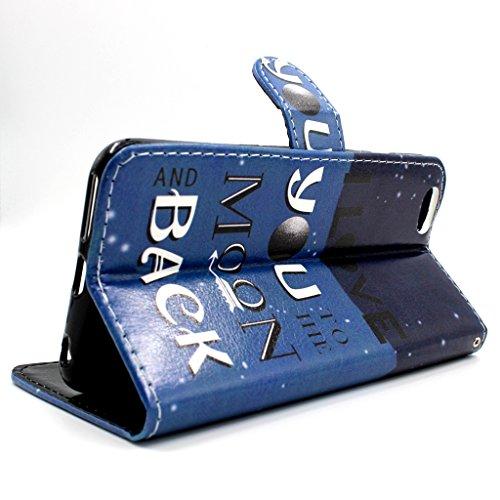 Uklayfe Book Style Design Portafoglio Custodia in pelle Cuoio Custodia Protettiva Portafoglio Flip Case Cover per iphone 6 Plus/6S Plus (5.5 pollice) con funzione di supporto e chiusura magnetica Con  I love you to the moon and back #3