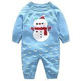 Baby Strick Strampler Overalls Lange Ärmel Warme Pullover Säugling Outfits Schneemann, 12-18 Monate