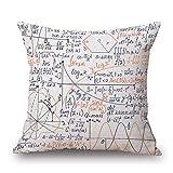 SHUCHANGLE 2 Pcs Doppelseitig Persönlichkeit Mathematische Formel Kissen Kissen Geometrischen Baumwolle Bettwäsche Kissenbezug (45 * 45 cm), Digital-1