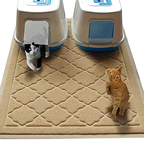 Jumbo Size Cat Litter Mat - (119 x 91 cm) - Extra Large Scatter Control Kitty Litter Mats for Cats Tracking Litter Out of Their Box - Soft to Paws- (Patent Pending)