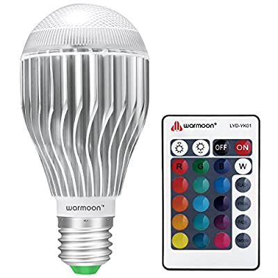 Warmoon E27 Edison Screw LED Bulb, 10W RGB Colour Changing Dimmable with Remote Control