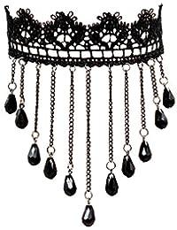 Estilo Europeo Fantasía Retro Negro de Encaje Aleación Borla Hecho a Mano Para Baile de Disfraces Mujeres Collar