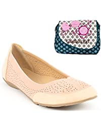 Estatos Perforated Leather Cut Work Platform Heeled Beige/Peach Bellerina/shoes With Blue Printed Clutch