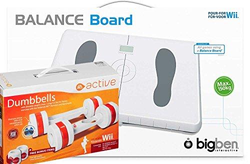 Wii - BigBen Balance Board mit EA Active Hanteln / Dumbbells