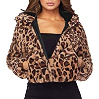 TWBB Mäntel Damen Elegant Leopard Kurz Wintercoat Kapuzenpullover Wintermantel Frauen Trenchcoat Drucken Slim-Fit Hülse Jacken Windbreaker Herbst Winter Bequem Outwear