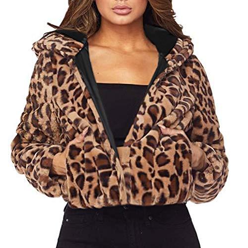 Dragon868 Damen Hooded Faux Pelzmantel Leopard Print Cardigans Winter Warm Parka Fuzzy Flauschig Chic Gepolsterte Jacke