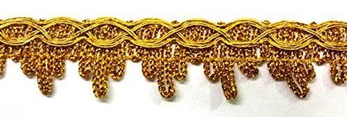 16,40m Fransenborte Gold-Borte 23mm breit Farbe: Lurex-Gold von 1A-Kurzwaren 10027-A-go