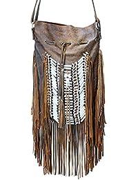 KARMABCN N48G - Bolso de cuero indio antiguo grande de Brown, bolso del estilo del