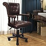 Lingjiushopping Sessel Büro Chesterfield lenkbar Leder Caff ¨ ¦ Farbe: Caff ¨ ¦ Material Bezug: Kunstleder