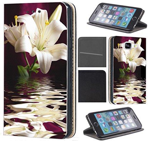 Samsung Galaxy A5 2017 A520 Hülle von CoverHeld Premium Flipcover Schutzhülle Flip Case Motiv (1186 Lilie Blume Weiß Grün Lila Wasser) (Wasser-lilie)