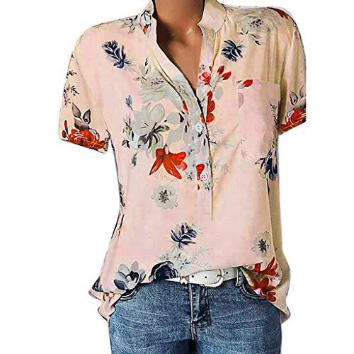 VECDY Damen Oberteile Frauen Tops Sexy Bedruckte Tasche Plus Size Kurzarmbluse Easy T-Shirt Mode Pullover Bluse Sweatshirt Beachwear S-5XL -