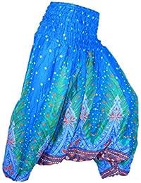 Sarouel Femme Pantalon Ethnique Aladin Harem Pant Aladdin Bleu Turquoise  Blue Turkish Baggy Yoga imprimé 9d9340d716e