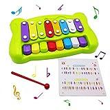 Beby 2-in-1 musikalische Xylophon Glockenspiel bunt Octave Tafelklavier mit Klopfer Baby Kinder lernen musikalische Spielzeug