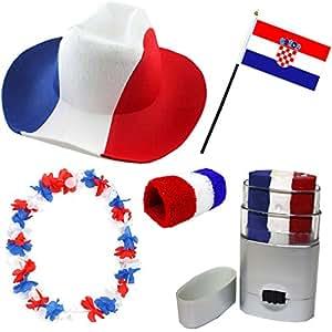 Sonia Originelli Fan Paket Fahne Flagge Schminkstift Cowboyhut Blumenkette Kroatien Croatia rot weiss blau Flag KRO-SET-2