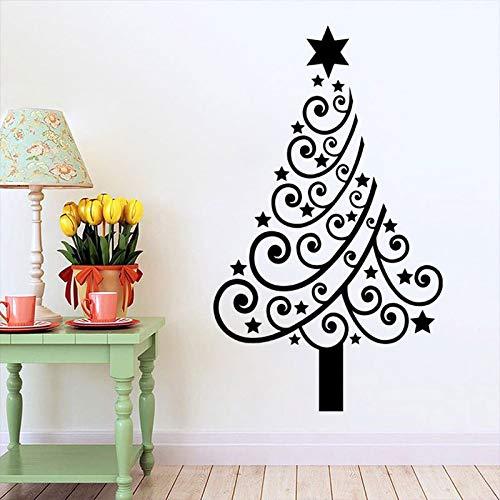 jiushizq Weihnachtsbaum Kreative Wandaufkleber Für Wohnzimmer Holiday Home Decor Vinyl Wandtattoos Fenster Aufkleber Wandbilder Weiß 80X134 cm -