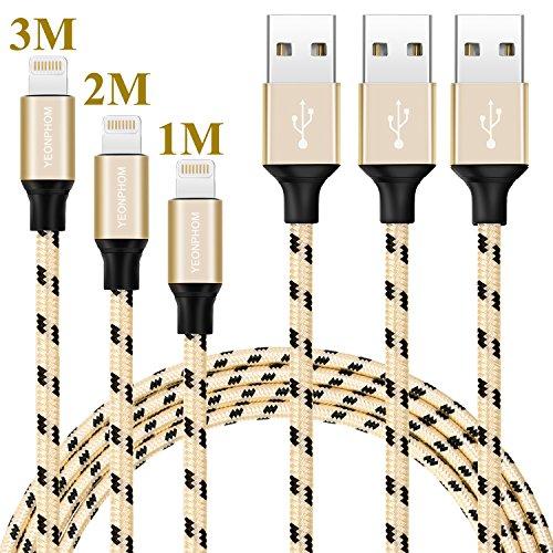 Lightning Kabel, YEONPHOM Lightning auf USB Kabel 3pack 1m 2m 3m iphone Kabel Ladekabel Nylon für iPhone 7/7 Plus 6 /6s/6Plus/6s plus SE 5S 5C 5, iPad Air 2, Mini (Und Passt Gold Schwarz)