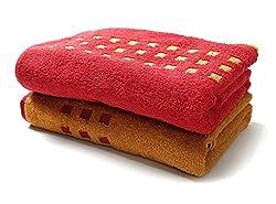 Jikko Pop (Limited Edition) 100% Premium Cotton Bath Towel (Set of 2) | 500gsm | 75cm x 150cm (Spanish Red & English Brown)
