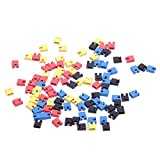 Tipo: 2-terminal Espacio: 2.54mm/0,10) Dimensión: 6× 5× 2.5mm/0,24x 0,20x 0,10pulgadas Color: Negro, Amarillo, Rojo, Azul, El paquete incluye: 25× Negro Jumper Cap 25× amarillo Jumper Cap 25× rojo Jumper Cap 25× azul Jumper Cap
