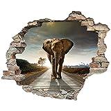 3D-Effekt Wandtattoo 'Elefant' | Aufkleber | Durchbruch | selbstklebendes Wandbild | Wandsticker | Stein | Wanddurchbruch | Wandaufkleber | Tattoo, Größe:60x50 cm