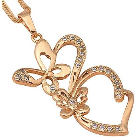 Bling fashion Farfalla Partito Gioielli alla moda per le donne 18K Placcato Oro Zirconi collane ciondoli ln422a